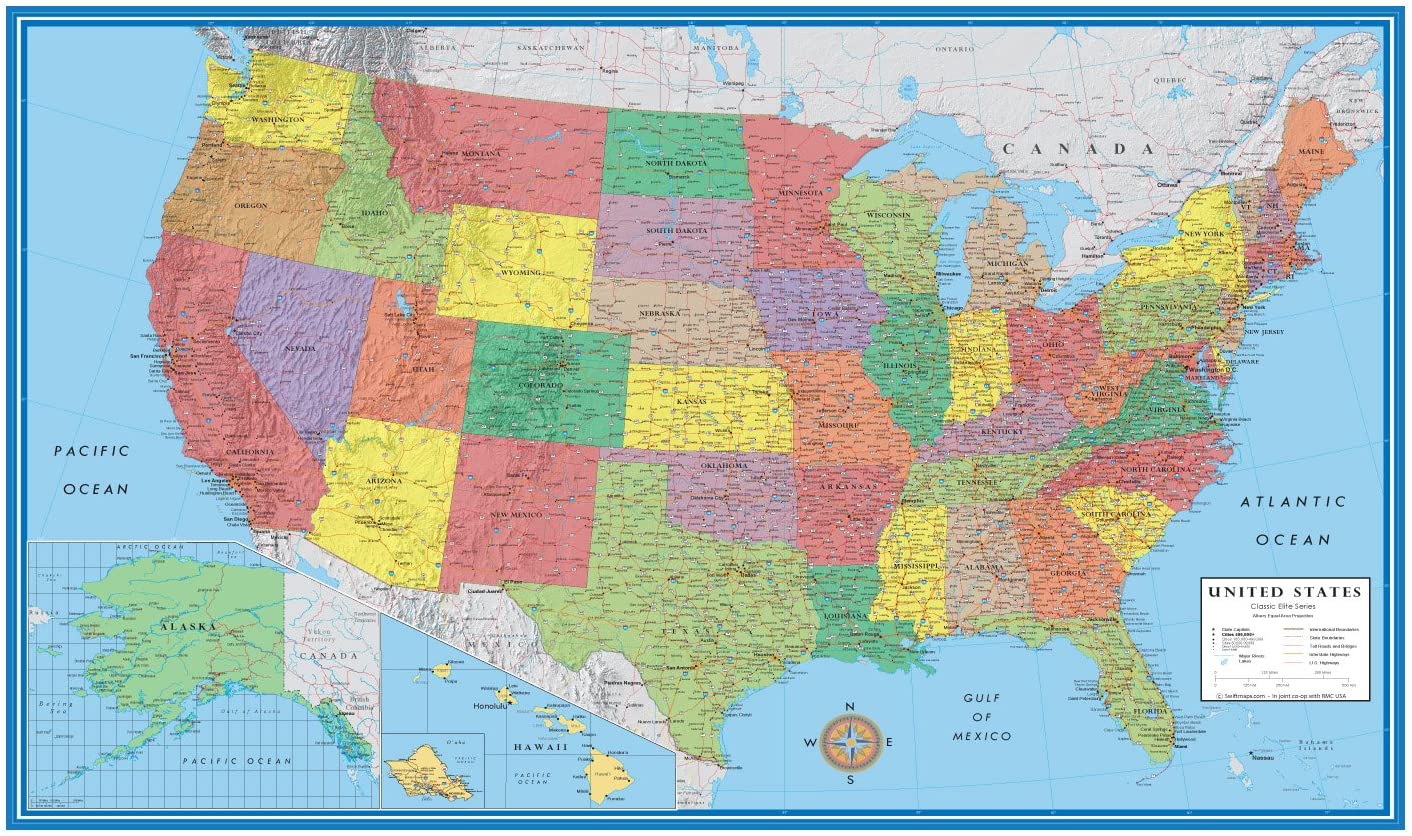 24x36 World Classic Elite Wall Map Mural Poster Laminated