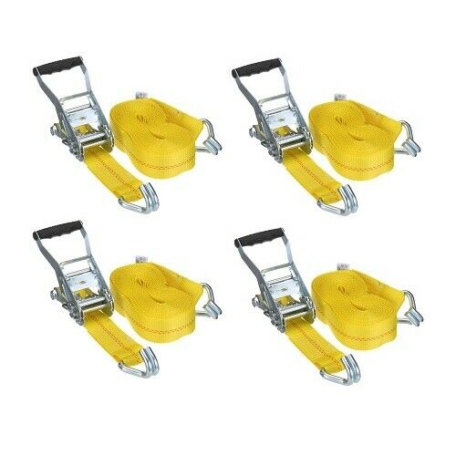 "Cargo Tie Down Straps Ratchet Truck Set 4 x 2/""x 27/' Heavy Duty Strap Lashing"