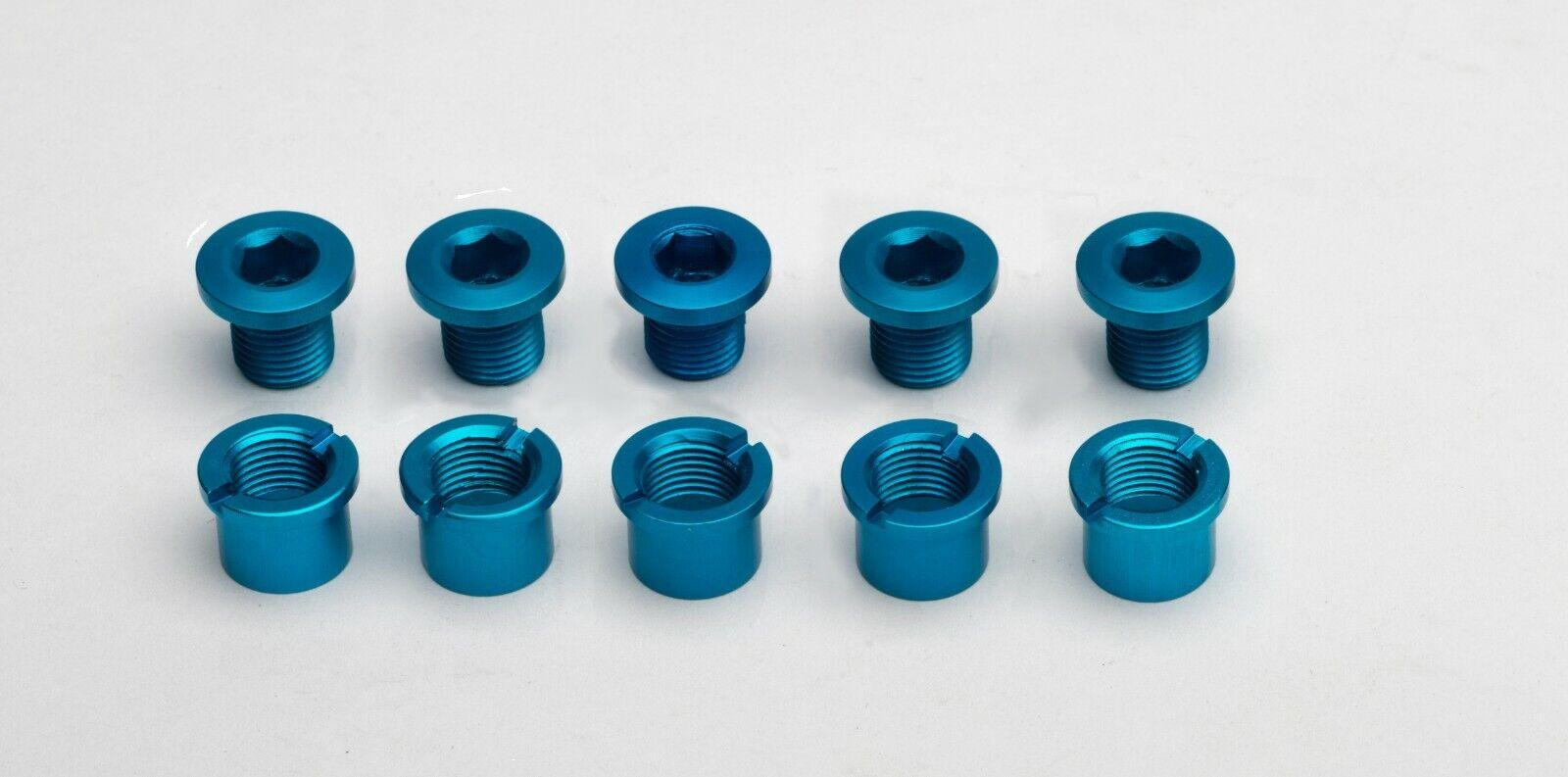 Vuelta Alloy Chainring Bolt Set 8mm Double Blue