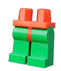 Lego-2-Stueck-gruene-Beine-rote-Huefte-fuer-Minifiguren-Hosen-gruen-rot-970c06-Neu