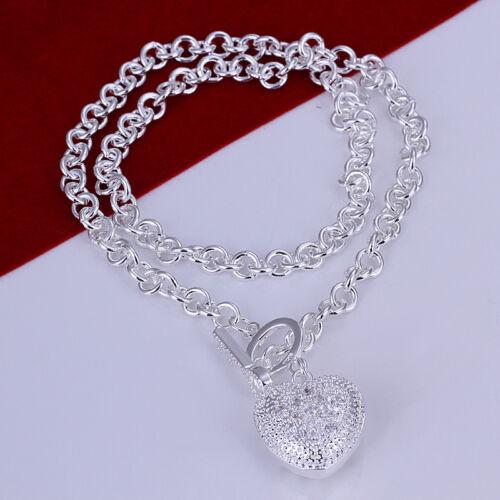 925Sterling Silver Fashion Jewelry Lovely Zircon Heart Key TO Men Necklace NB022