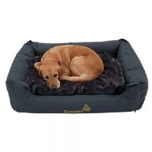 Dog Bed Large Grey Water & Dirt Resistant Thermal Cover Padded Sides Comfortable