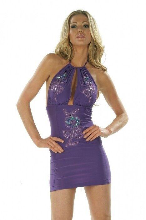 Minikleid ROT Gr.M Gr.36-38 Neckholder Pailletten Perlen Kleid  Made in USA
