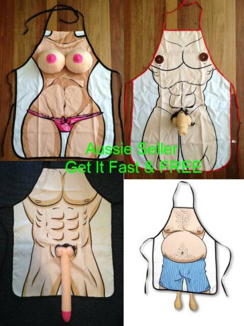 Sexy Naked Man/Woman Willy/Boob Hens/Stag/Bucks BBQ Apron Party Novelty Costume