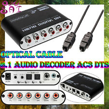 Cable+Dolby Digital AC3 DTS Pro Optical to Analog 5.1 LR Audio Converter Decoder