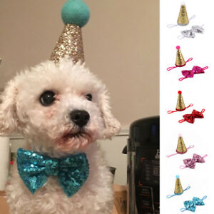 Image Is Loading Cute Pet Birthday Crown Hat Bow Tie Set