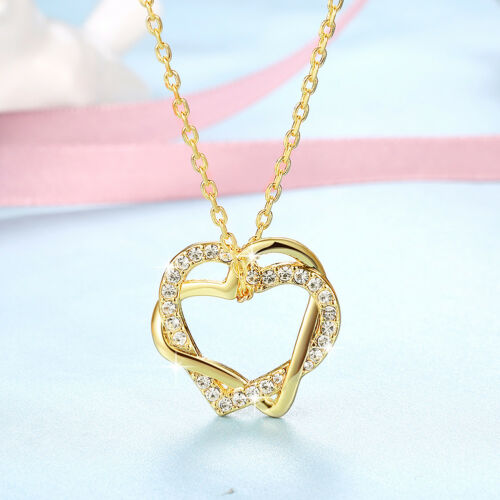 Classic 18K Yellow Gold Filled Clear Crystal Hollow Love Heart Pendant Necklace