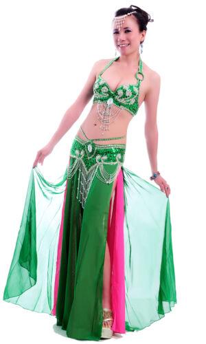 B /& D CUP handmade bead Belly Dance Costume Outfit Set Bra Belt Carnival 2PCS