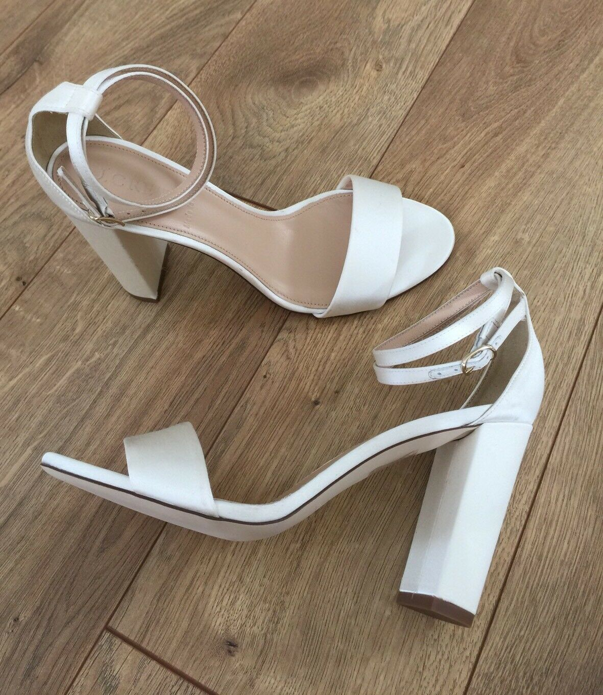 J.CREW SATIN SANDALS WITH ANKLE WRAPS G0888 SIZE 6.5 IVORY  248 NEW
