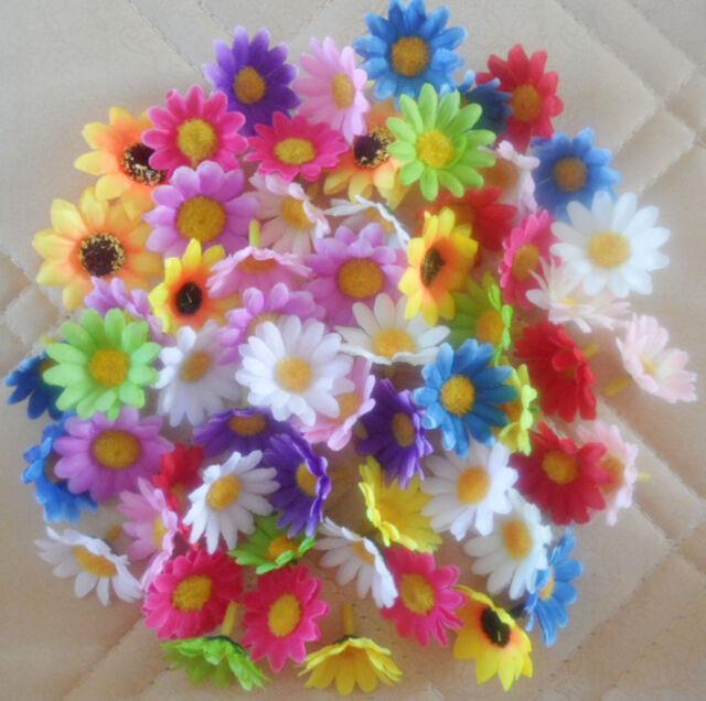 "50,100pcs Multicolor Silk Gerbera Daisy Flower Head Wedding Party Decoration1.5"""