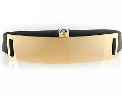 Elastic lady's Women's Metal Waist Belt Metallic Bling Gold Plate Obi colorful