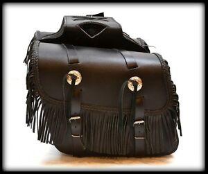 sacoches-cavaliere-en-Cuir-avec-Franges-custom-harley-virago-intruder-VN