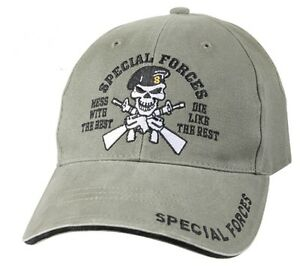 769d8e12e5ff3 US Army SPECIAL FORCES Ball Cap Olive Skull Beret Ranger Airborne OD ...