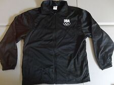 Black USA Olympic Committee Track & Field Warmup Polyester Jacket Size L EXCEL