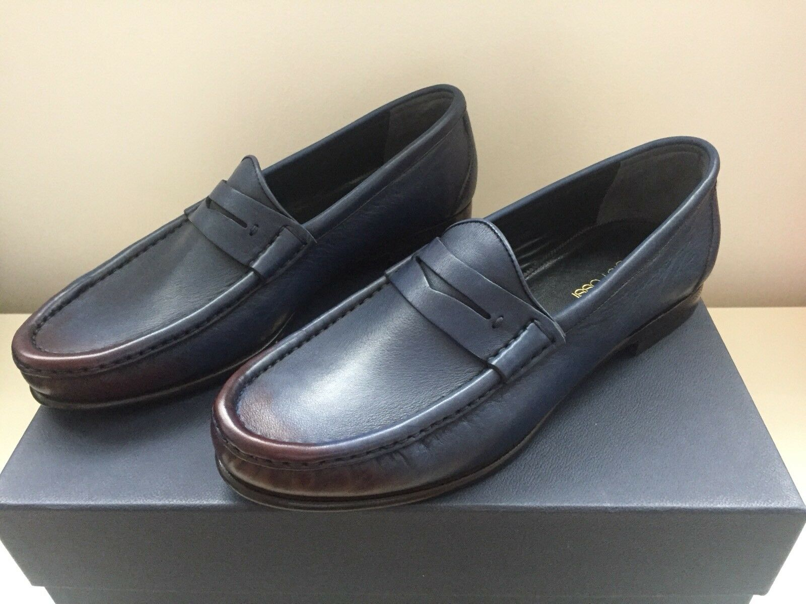 SERGIO ROSSI verde Dip-Dyed scarpe di pelle mocassini maccasins 9.5-US 8.5-UK