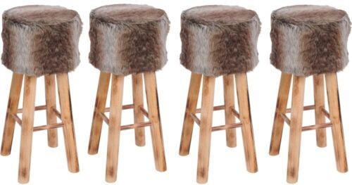3 x Barhocker Holz mit Kunstfell Fellhocker Barstuhl Shabby Vintage 70 cm hoch