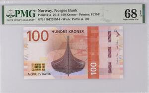 Norway 100 Kroner 2016 P 54 a Superb GEM UNC PMG 68 EPQ