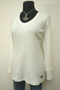 Gr-44-46-Sheego-Casual-Damen-Langarm-Shirt-Bluse-Pullover-weiss-30-Rabatt