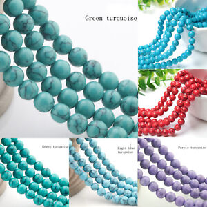 Natural-Turquoise-Gemstone-Spacer-Round-Beads-Loose-Beads-8-10-12mm-15-034