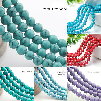 """White Natural Turquoise Gemstone Faceted Round Beads 16/"""" 4,6,8,10,12,14mm"""