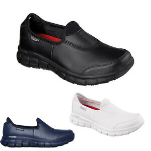 Skechers Work Shoes Black White Navy