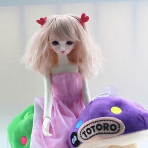 "BJD Doll Hair Wig 8-9""1/3 SD DZ DOD Rhapsody fluffy short light pink wig"