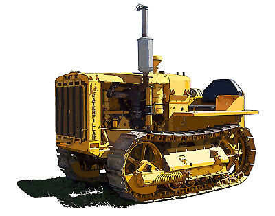 Caterpillar Ten crawler tractor canvas art print by Richard Browne Cat 10