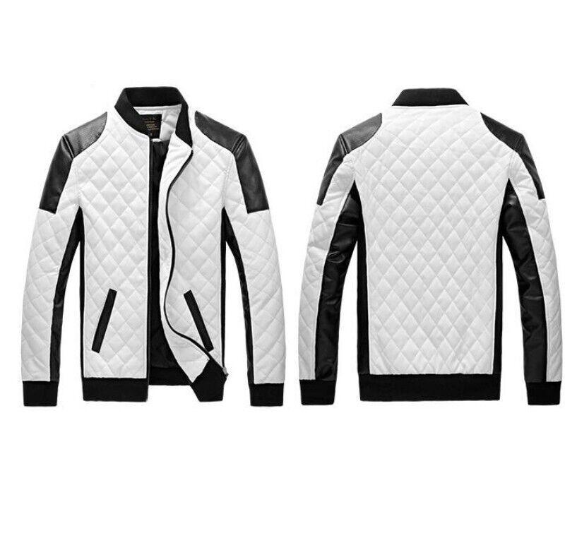 Motociclista De Moto Cuero Para Hombre ajustada de  abrigo chaqueta prendas para el torso Prendas de abrigo Otoño al aire libre nuevo  de moda