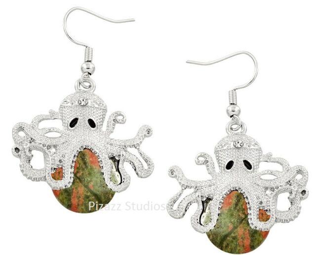 Unakite Gemstone Octopus Dangle Fish Hook Earrings Silver Plated 13-6