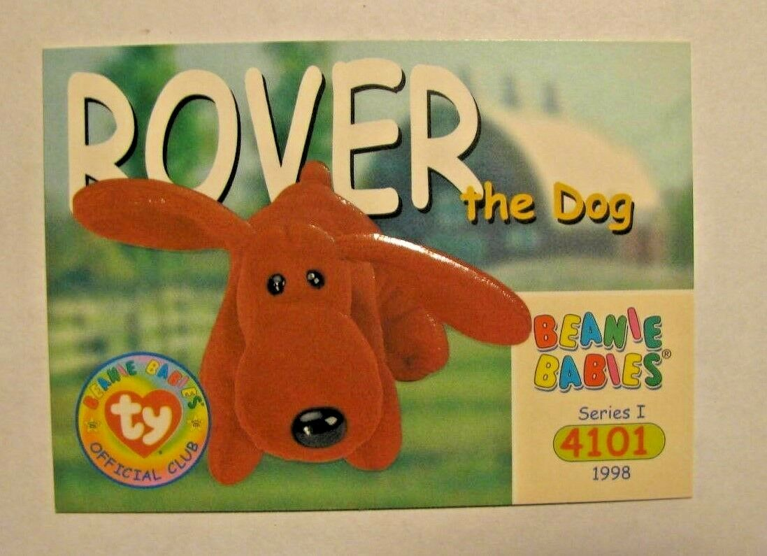 1998 RARE BROWN ROVER the Dog - ERROR TY Beanie Babies BBOC Card - Series 1