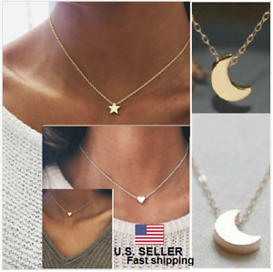 Women-Fashion-Jewelry-Delicate-Crescent-Moon-Tiny-Heart-Star-Pendant-Necklace