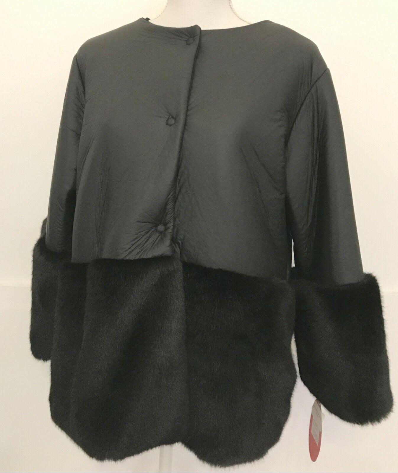 Giacca giubbino cappotto piumino giubbotto ecopelliccia e piumino tg L black