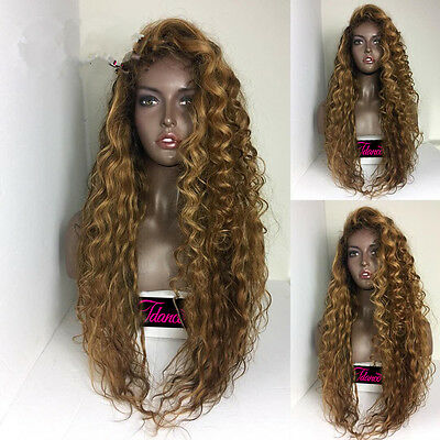 European 100% Human Hair Wig Long Curly Ombre Color Full Lace Wig Lace Front Wig
