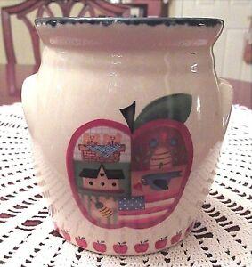 Country-Apple-Tart-Oil-Simmer-Warmer-Ceramic-Primitive-Flag-Basket-Americana-New