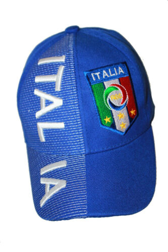 NEW ITALIA ITALY BLUE FIGC LOGO FIFA SOCCER WORLD CUP EMBOSSED HAT CAP .