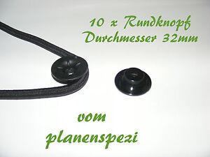 10-x-Rundknopf-gross-32mm-Durchmesser-fuer-6-8mm-Expanderseile-Kunstoff-schwarz
