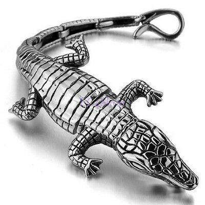"7.5"" Mens Biker Large Silver Stainless Steel Crocodile Alligator Bracelet Bangle"