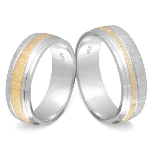 Eheringe vergoldet -LAS41HH 925 Silber schöne Verlobungsringe Mit Lasergravur