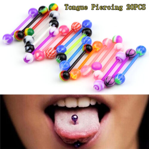 20x Multicolor Stud Tounge Rings Bars Barbell Body Piercing Jewelry Spirited YJ