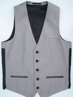 MENS NEW SILVER GREY FINE CHECK WAISTCOAT VEST FOR SUIT JACKET JEANS 36 38 40 42