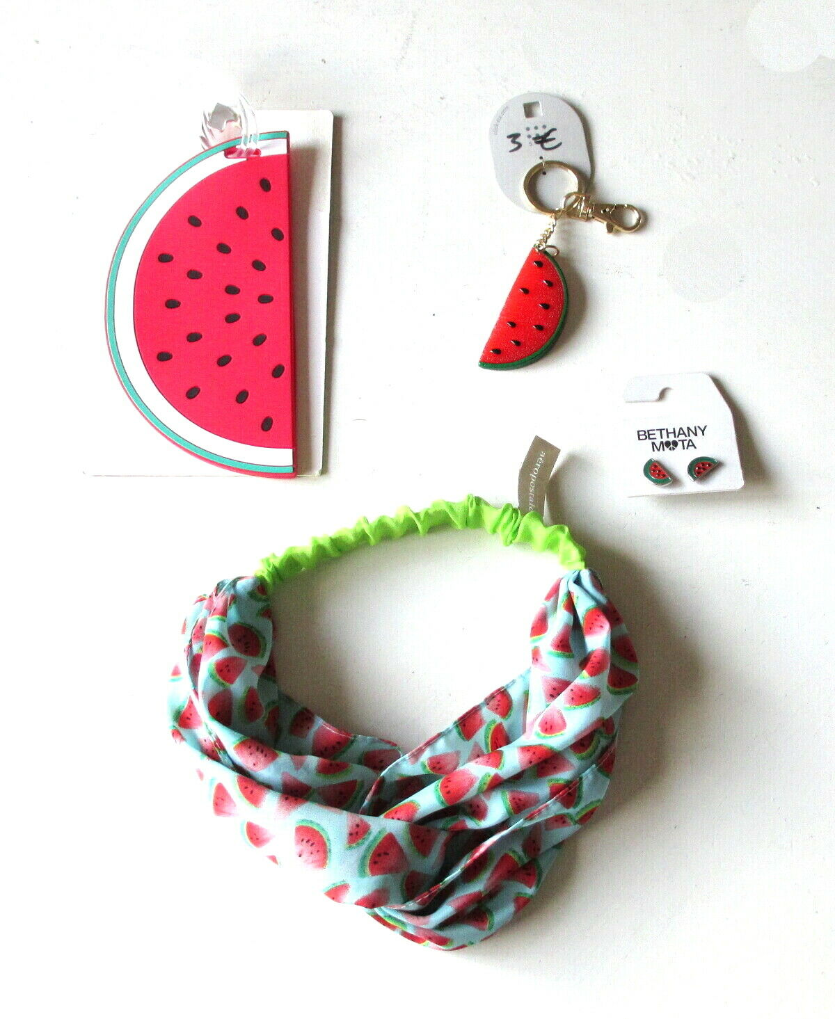 NEW Aeropostale Bethany Mota Watermelon Earrings Headband Luggage Tag Key Chain