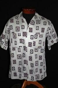 RARE-VINTAGE-1950-039-S-MR-EDD-CARPET-PRINT-COTTON-SHIRT-SIZE-SMALL
