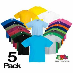 5-Pack-Fruit-Of-The-Loom-KIDS-T-SHIRT-TEE-CHILDREN-BOYS-GIRLS-SCHOOL-PE-ALL-AGES