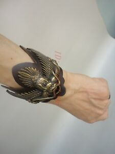 Collection Old Temple Black iron pure copper carved Buddha Bracelet