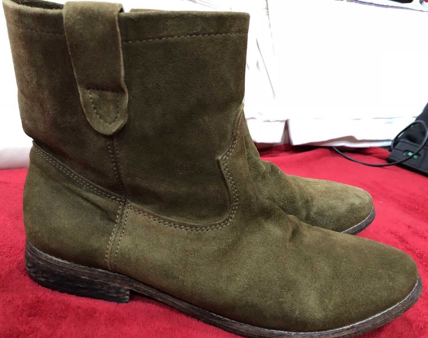 ISABEL MARANT X H&M DICKER BROWN LEATHER BOOTS SIZE 45/ US 11.5 100% SUEDE