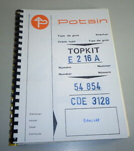Operating Instructions/Operating Instructions Potain Topkit E 2 16A Crane /