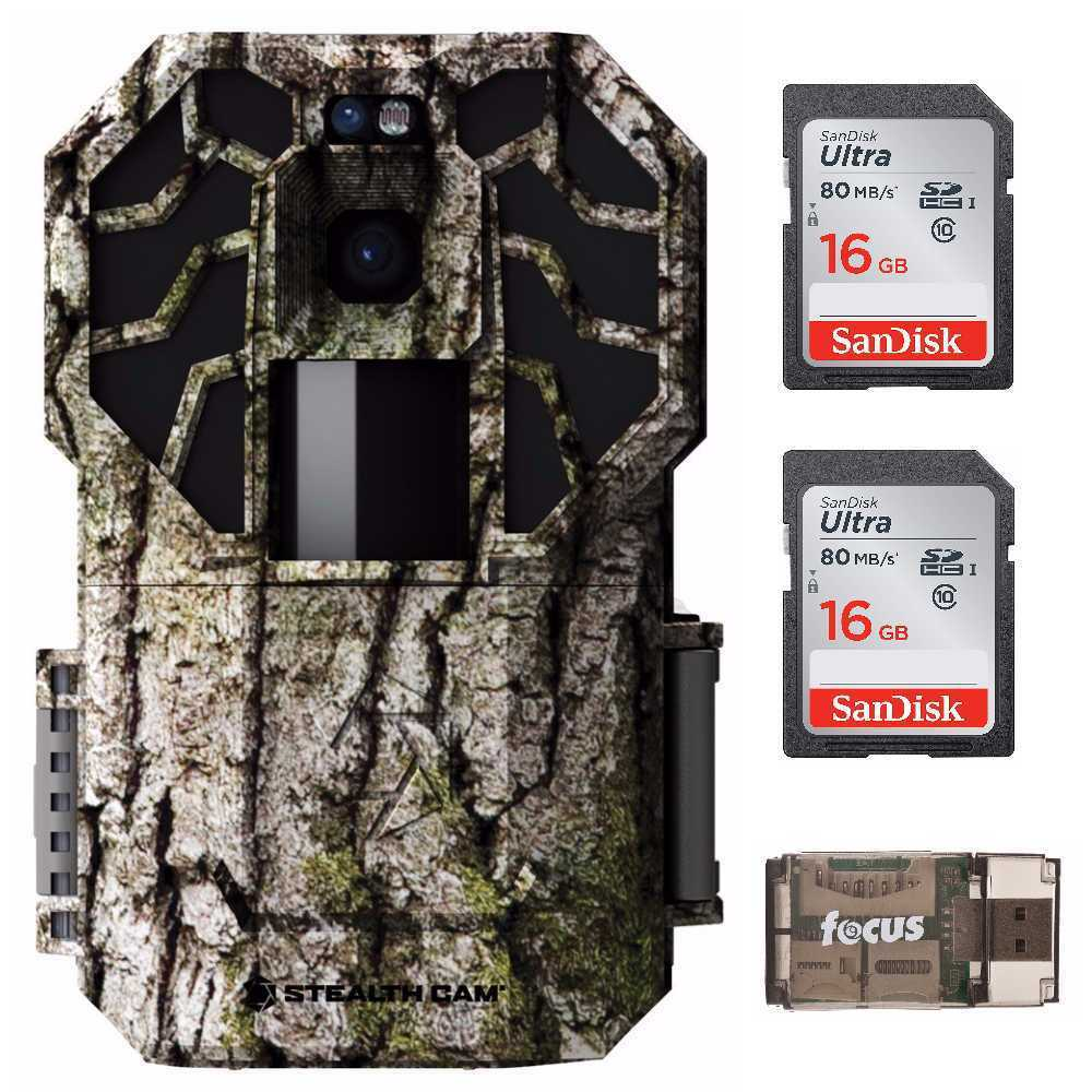 Stealth Cam G45NGX 22.0 MP No Glow Trail Camera with 16GB Card (2) and Reader