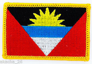 Patch Ecusson Brode Drapeau Antigua Barbade Insigne Thermocollant Neuf Flag