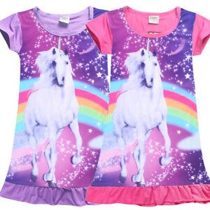 Kids Girl s Unicorn Top T-shirt Dress Nightwear Nightdress Pajamas ... 6a26de122