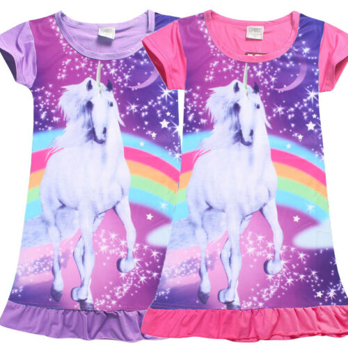 UK Kids Girl Unicorn Top T-shirt Dress Nightwear Nightdress Nightie Dress Gift